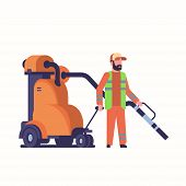 Male Street Janitor Using Industrial Vacuum Cleaner Man In Uniform Vacuuming Garbage Streets Cleanin poster