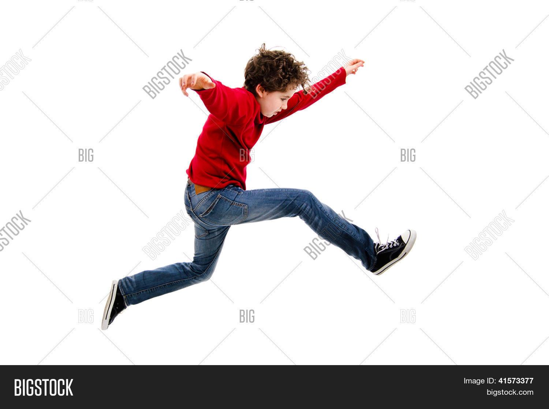 Imagen Y Foto Niño Saltando, Corriendo Aislada