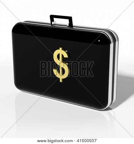 Black suitcase with Golden dollar symbol
