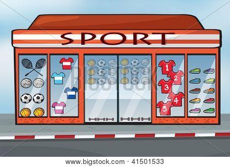 illustration of a sport store near a street
