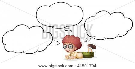 Illustration of a girl thinking and lying on white background