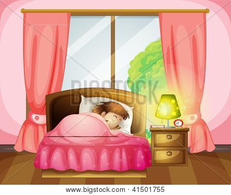Illustration of a sleeping girl on a bed in a room