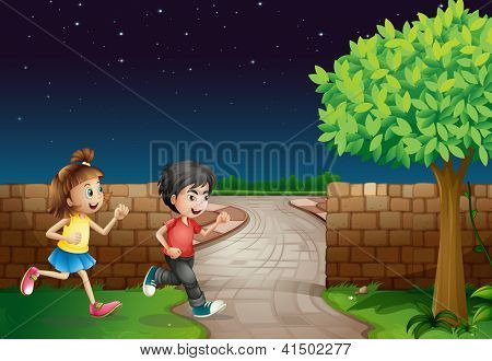Illustration of a running boy and a girl in a dark night