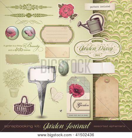 scrapbooking kit: Gardening - assorted ephemera