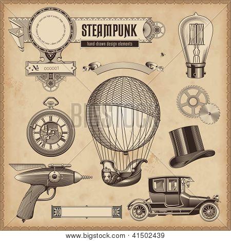 vector set: Steampunk design elements