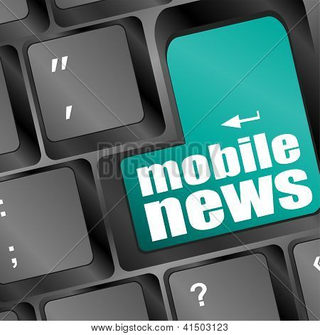 Mobile News Word On Black Keyboard And Green Button