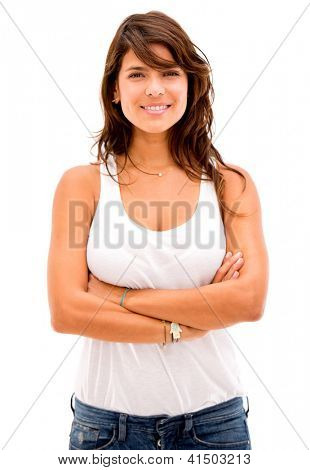 Confident woman wih arms crossed - isolated over a white background