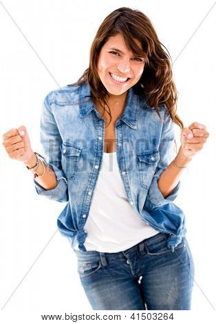 Successful woman looking very happy - isolated over a white backgorund