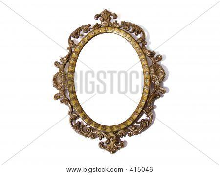 Golden Round Photo Frame