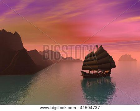 Oriental Junk Boat - 3D Render