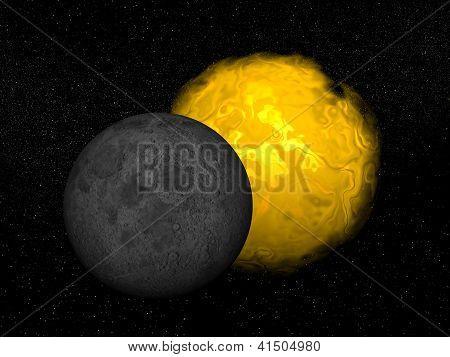 Partial Eclipse Of The Sun - 3D Render