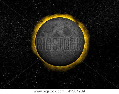 Total Eclipse Of The Sun - 3D Render