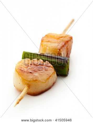 Grilled Scallop isolated over White
