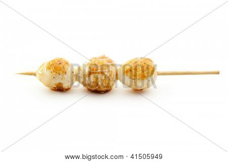 Grilled Quail Egg isolated over White