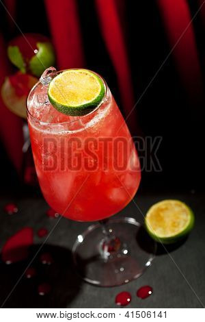 Zombie Cocktail - Dark and Light Rums, 151-proof Rum and Various Syrup, Grenadine, Grapefruit Juice, Lime Juice, Absinth and Cane Sugar