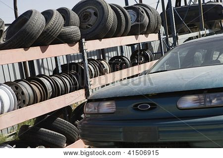 Scrap yard of old condemned cars