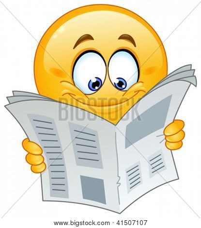 Emoticon reading a newspaper