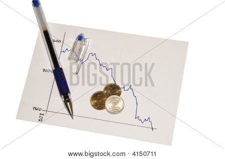 Economic Crisis Diagram Isolated On White With Path