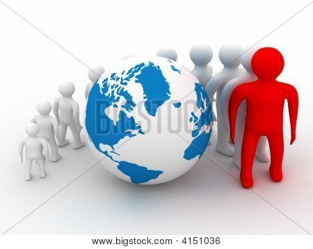 Group Of People Standing Round Globe. 3D Image
