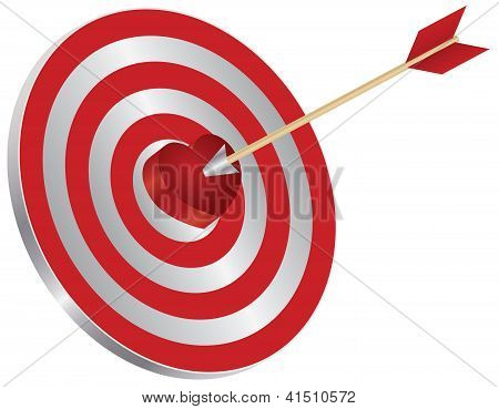 Arrow On Target Heart Bullseye Illustration