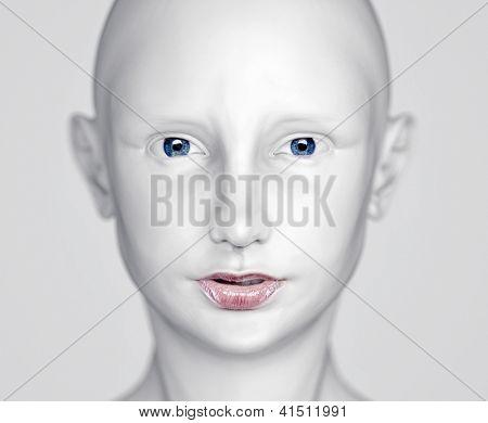 3D white beautiful woman head