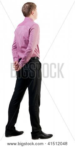 back view of business man  in red shirt looks ahead. Young businessman watching.   Rear view people collection.  backside view of person.  Isolated over white background.