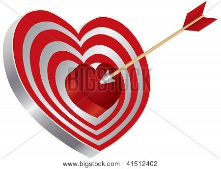 Arrow On Heart Shape Bullseye Illustration