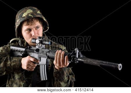 Aiming Soldier With A Rifle
