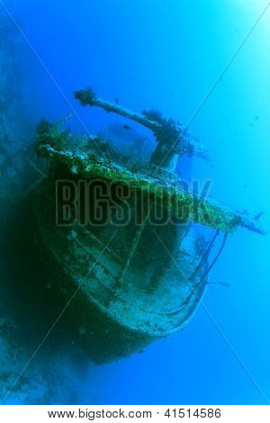 Stern of underwater shipwreck SS Thistlegorm in Red Sea, Egypt