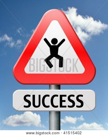 success jump of joy being happy successful and lucky achieve goals