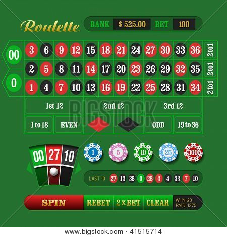 American Roulette Online. Vector.