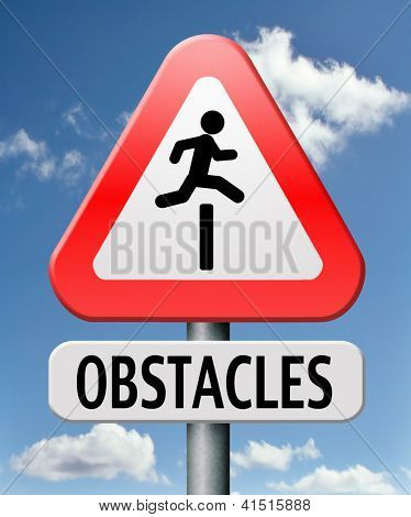 obstacle ahead caution for danger take the challenge avoid and overcome the problem prepare for difficult and avoiding hard times jump the hurdles or obstacles