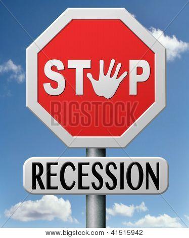 parar de recessão e crise financeira pelo plano de recuperação e ação