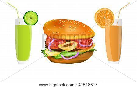 Hamburger and fresh fruit juice