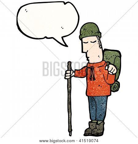 cartoon man in camping gear