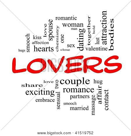 Lovers Word Cloud Concept In Red Caps