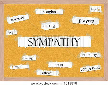 Sympathy Corkboard Word Concept