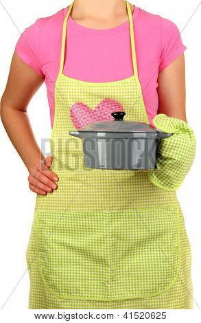 Closeup of  homemaker in apron  holding  pan isolated on white