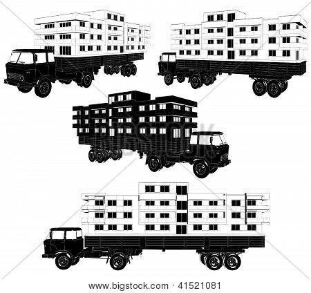 Los edificios de una casa con un Vector de carro en movimiento