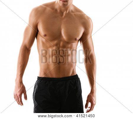 Meio corpo sexy nua de homem musculoso do Atlético, isolado no branco