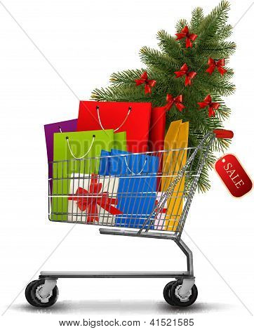 Background With Shopping Color Bags And Shopping Cart With Sale. Concept Of Discount. Vector Illustr