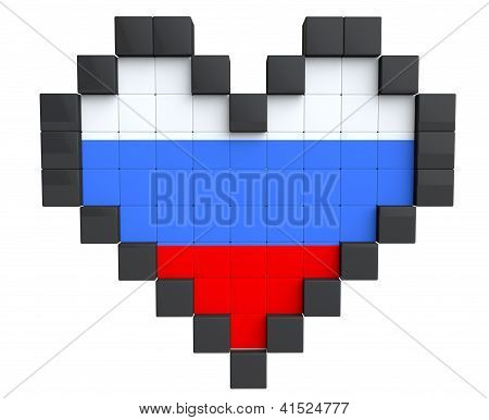 Pixel Heart As Russia Flag
