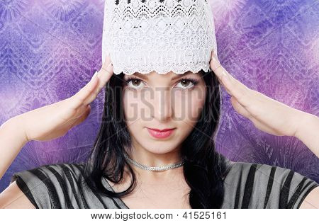 Young Woman Fashion Studio Portrait Purple