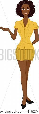 Illustration of an African American Woman in a Yellow Button Down Blouse Paired with a Yellow Mini Skirt