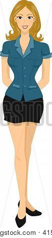 Illustration of a Caucasian Woman Wearing a Blue Button Down Blouse Paired with a Black Mini Skirt