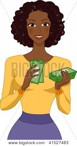 Illustration of a Black Woman Counting Money