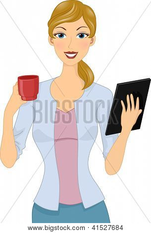 Illustration of a Woman Holding a Cup of Coffee in One Hand and a Computer Tablet in Another