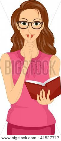 Illustration of a Bespectacled Girl Holding a Book Doing the Hush Sign