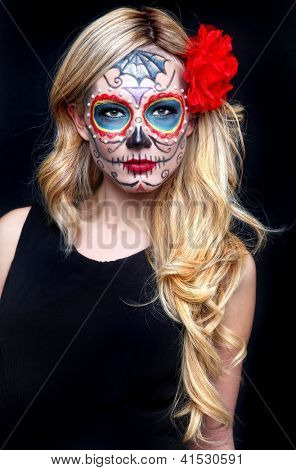 Stunning Blonde Woman With Painted Sugar Skull Art