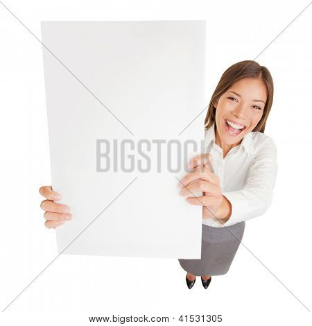 Sign board woman. Businesswoman with blank sign excited. Fun high angle young happy cheerful businesswoman holding up a blank sign for with copyspace for your advert or text isolated on white